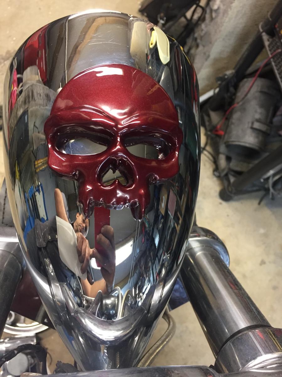 skull tête de mort fonderie moto custom ornement